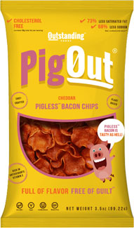 PigOut Pigless Bacon Chips by Outstanding Foods - Cheddar Flavor LARGE