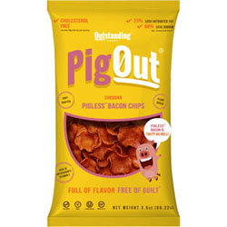PigOut Pigless Bacon Chips by Outstanding Foods - Cheddar Flavor THUMBNAIL