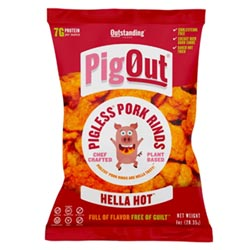 PigOut Pigless Pork Rinds by Outstanding Foods  - Hella Hot THUMBNAIL