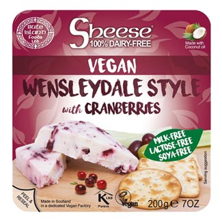 Sheese Vegan Wensleydale Style with Cranberries Cheese Block MAIN