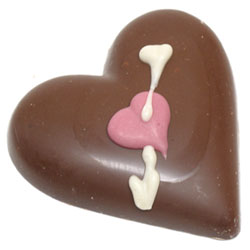 Organic Chocolate Hand-Decorated Heart with Arrow by Sjaak's THUMBNAIL