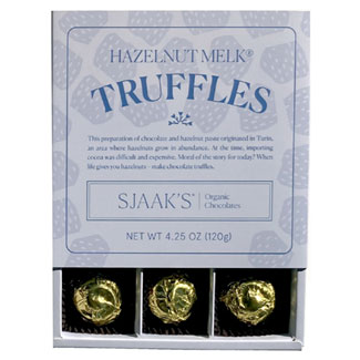 Sjaaks Organic Hazelnut Truffle Box - Milk Style Chocolate MAIN
