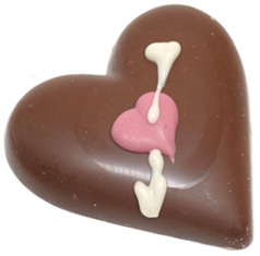 Organic Chocolate Hand-Decorated Heart with Arrow by Sjaak's