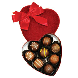 Sjaaks 8 pc. Organic Truffle Assortment - Red Velvet Heart Box THUMBNAIL
