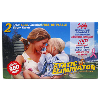 Static Eliminator Re-Usable Dryer Sheet System MAIN