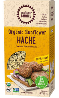 Organic Sunflower Haché Meatless Protein Crumbles by Sunflower Family