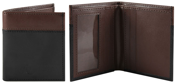 Daniel Bi-Fold Wallet by The Vegan Collection - Black/Brown