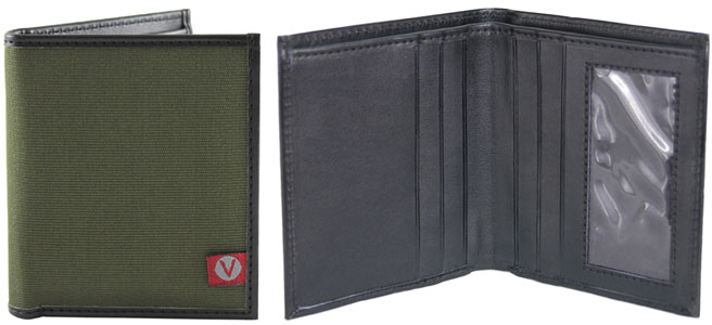 Templeton Bi-Fold Wallet by The Vegan Collection - Black/Olive