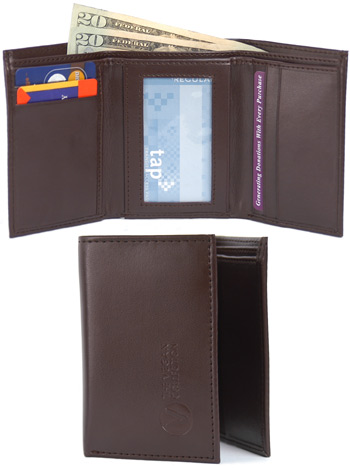 Armstrong Tri-Fold Wallet by The Vegan Collection – Brown LARGE