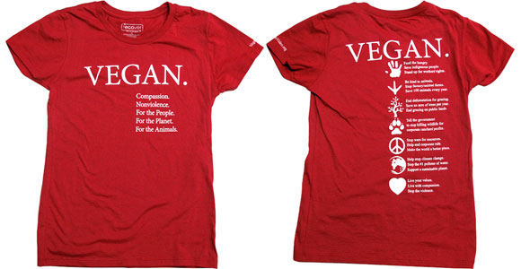 Vegan Compassion 100% Recycled Cotton T-Shirt by NonviolenceUnited.org - Red