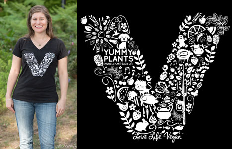 Love Life Vegan Women's V-Neck T-Shirt by YummyPlants.com