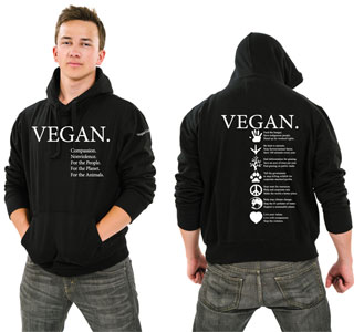 Vegan Compassion Hooded Sweatshirt by NonviolenceUnited.org - Black