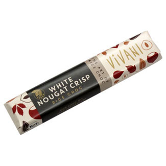White Chocolate Nougat Crisp bar by Vivani MAIN