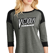 Heather Black Vicious Fishing 3/4 Sleeve THUMBNAIL