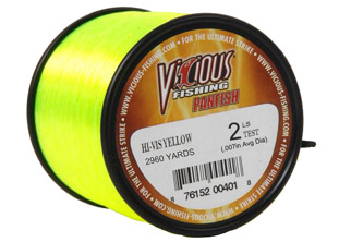 "6lb Vicious Hi-Vis Yellow Panfish -  2,360 Yards, .008"" Avg. Dia. MAIN"