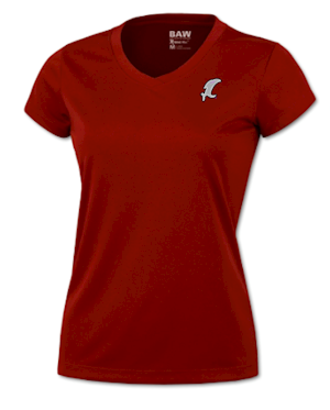 Red w/ Silver Vic Performance V-Neck MAIN