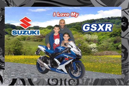 GSXR Motorcycle 3D Background and Foreground