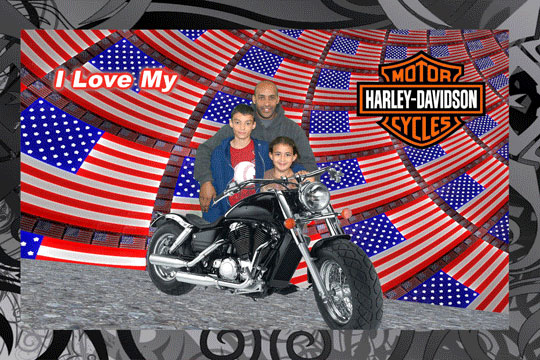 Harley Motorcycle1 3D Background and Foreground