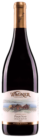 Bottle of Grace House Pinot Noir wine with our vinifera wine label featuring our distinctive Octagon shaped winery. MAIN