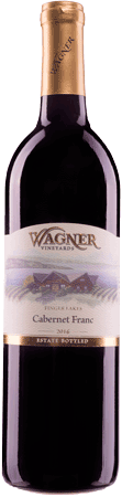 Bottle of Cabernet Franc: A dry bordeaux style red with our vinifera wine label featuring our Octagon shaped winery._MAIN
