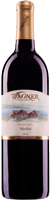 Bottle of Merlot wine with our vinifera wine label featuring our distinctive Octagon shaped winery.