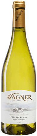 Bottle of Barrel Fermented Chardonnay with our vinifera wine label featuring our distinctive Octagon shaped winery. MAIN