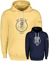 Know Your Roots, FLX, NY logo hoodie in yellow and navy THUMBNAIL