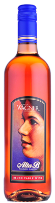 A bottle of Alta B Blush. A sweeter pink wine with a label featuring the winery founder's mother, Alta B. MAIN