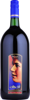 A magnum sized bottle of Alta B Red. A sweeter red wine with a label featuring the winery founder's mother, Alta B._MAIN