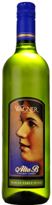 A bottle of Alta B White. A sweeter white wine with a label featuring the winery founder's mother, Alta B. MAIN