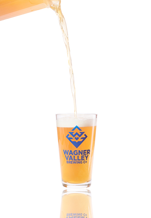 Pint Glass with the Wagner Valley Brewing Co Logo MAIN