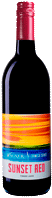 Bottle of Sunset Red wine with our Seneca Series label inspired by the sunsets on Seneca Lake