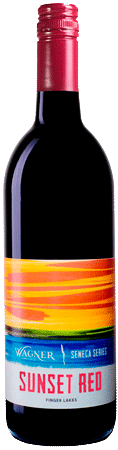 Bottle of Sunset Red wine with our Seneca Series label inspired by the sunsets on Seneca Lake_MAIN