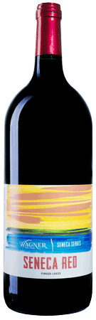Magnum size bottle of Seneca Blush wine with our Seneca Series label inspired by the sunsets on Seneca Lake MAIN