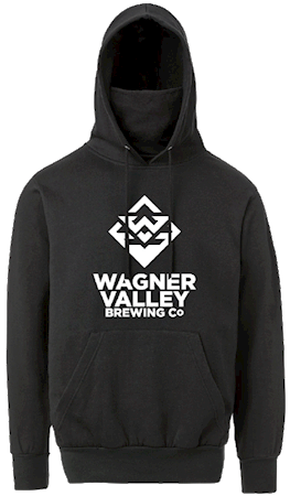 Wagner Valley Brewing Co hoodie with face mask built in MAIN