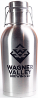 64oz Stainless Steel growler with the Wagner Valley Brewing Co Logo
