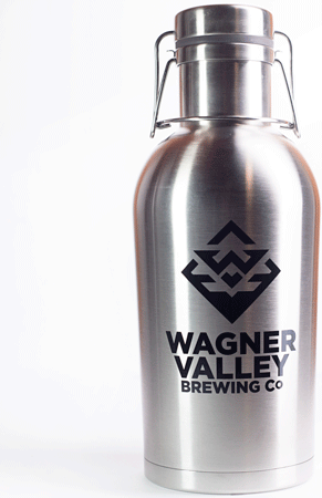 64oz Stainless Steel growler with the Wagner Valley Brewing Co Logo_MAIN
