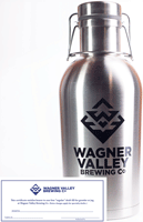 64oz Stainless Steel growler with the Wagner Valley Brewing Co Logo w/ Fill Certificate