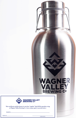 64oz Stainless Steel growler with the Wagner Valley Brewing Co Logo w/ Fill Certificate MAIN