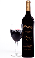 Wine glass with the Wagner logo etched on the side