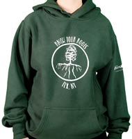 "Hoodie with an image of a tree with roots that are shaped like the Finger Lakes with the text ""Know Your Roots""_THUMBNAIL"