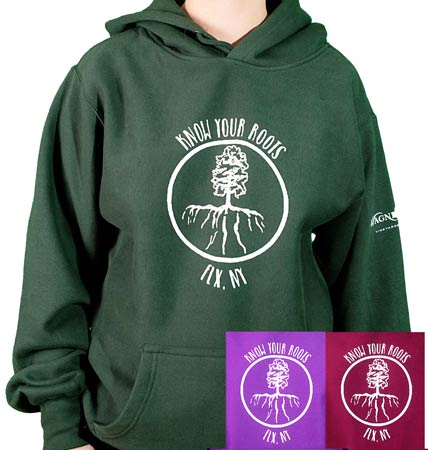 "Hoodie with an image of a tree with roots that are shaped like the Finger Lakes with the text ""Know Your Roots"""