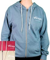 A front zip hoodie sweatshirt with the Wagner Vineyards logo on the left chest.