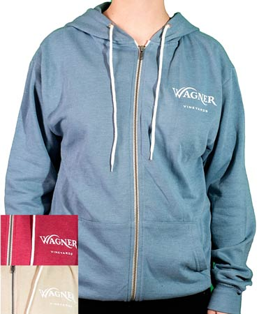 A front zip hoodie sweatshirt with the Wagner Vineyards logo on the left chest._MAIN