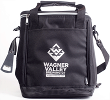 Beer cooler made to fit a 6 pack of bottles with the Wagner Valley Brewing Co Logo