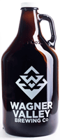 64oz Glass Jug growler with the Wagner Valley Brewing Co Logo THUMBNAIL