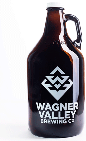 64oz Glass Jug growler with the Wagner Valley Brewing Co Logo MAIN