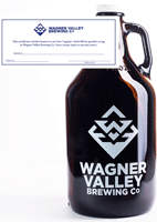 64oz Glass Jug growler with the Wagner Valley Brewing Co Logo w/ Fill Certificate THUMBNAIL