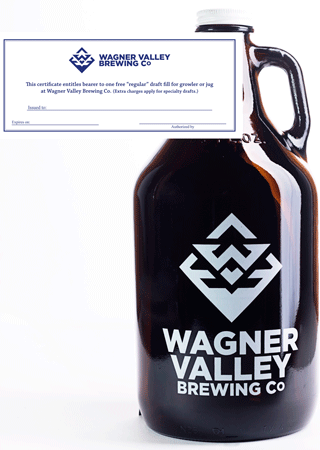 64oz Glass Jug growler with the Wagner Valley Brewing Co Logo w/ Fill Certificate
