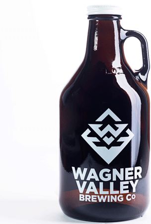 32oz Glass Jug small growler with the Wagner Valley Brewing Co Logo MAIN